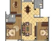 C户型三室两厅两卫121.48㎡